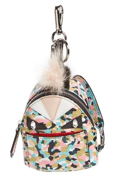 Fendi Monster Granite-print Leather Backpack Charm For Handbag, Multi In Saphire