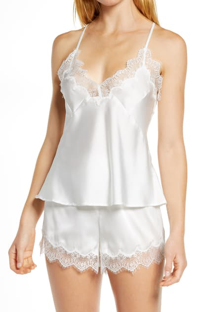 Homebodii Dontalla Lace Trim Shorts Pajamas In White