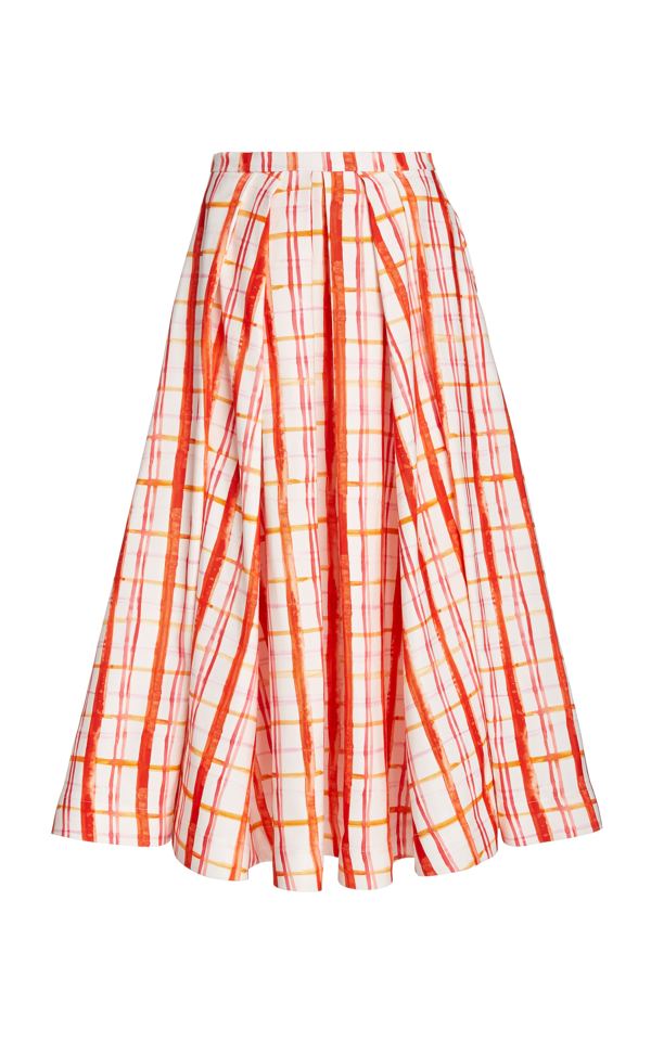 Rosie Assoulin Pleated Plaid Cotton-blend Midi Skirt In Red Plaid