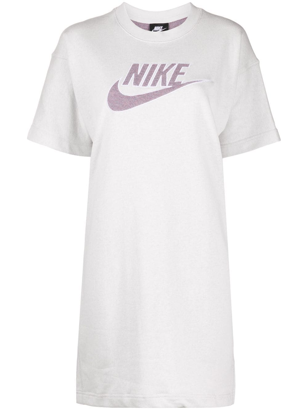 Nike Logo Print T-shirt Dress In White