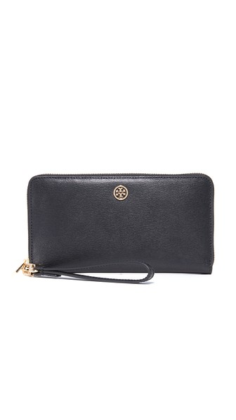 Tory Burch Parker Zip Leather Continental Wallet In Black