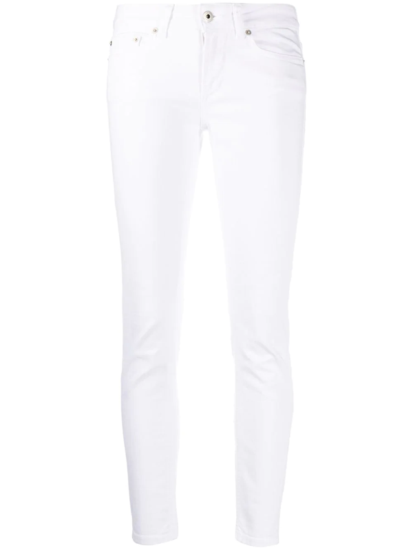 Dondup White Cotton Cropped Lenght Jeans