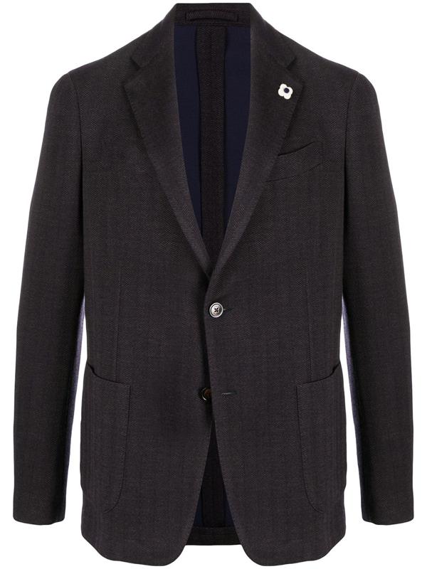 Lardini Single-breasted Flower-pin Blazer In Blue