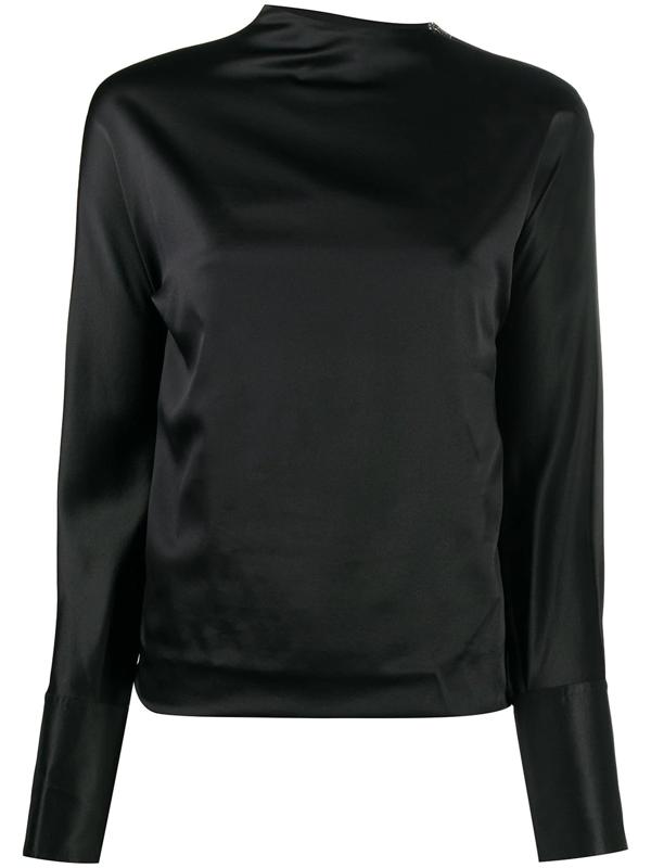 Helmut Lang Women's Silk-satin Long-sleeve Blouse In 001 Black