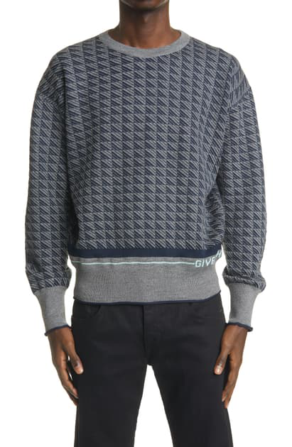 Givenchy Geo Pattern Wool Sweater In Navy/ Grey