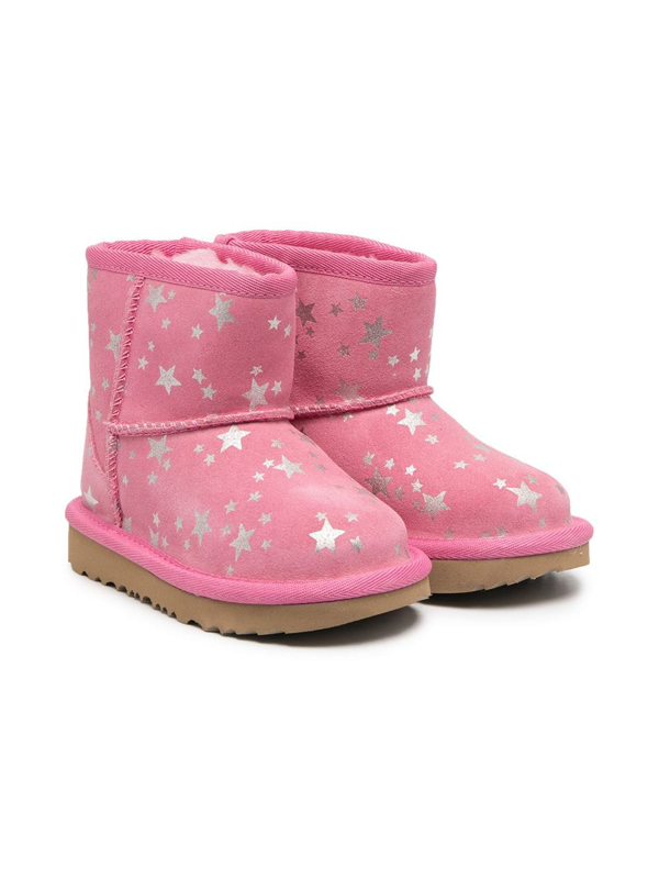 Ugg Kids' Star-print Slip-on Ankle Boots In Pink