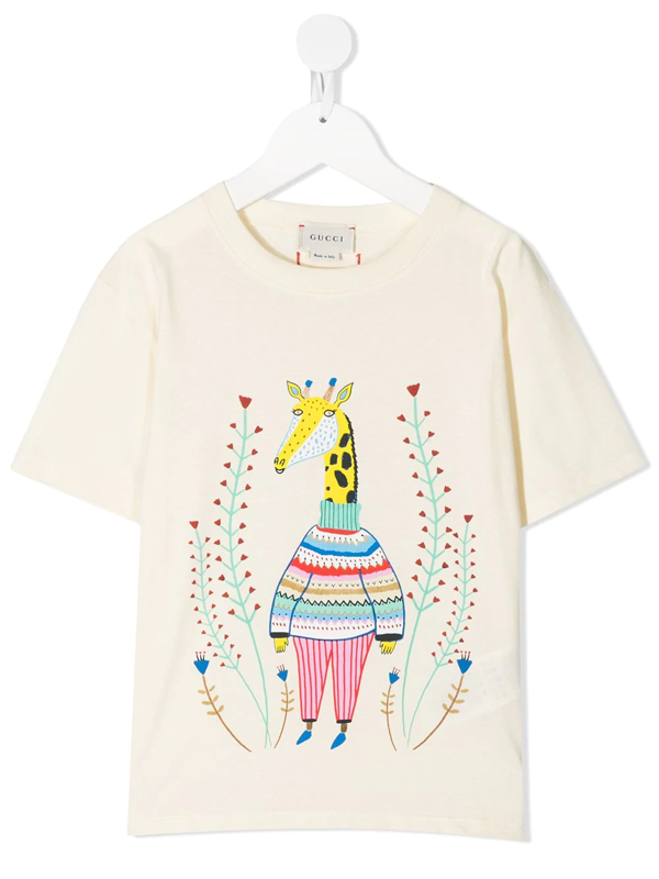 Gucci Kids' Printed Cotton T-shirt In White