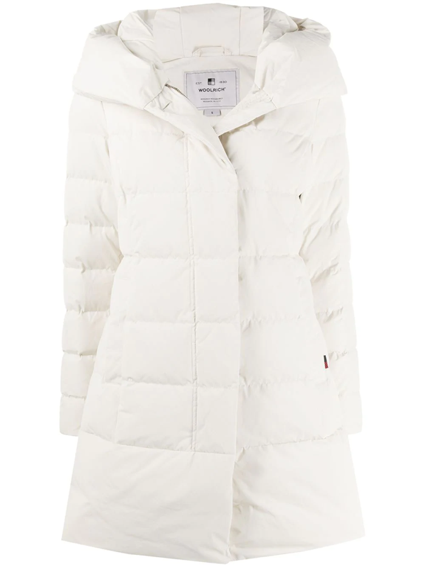 Woolrich Hooded Padded Coat In Neutrals