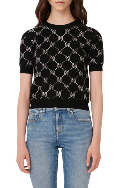 Maje Metallic Monogram Jacquard Short Sleeve Sweater In Black