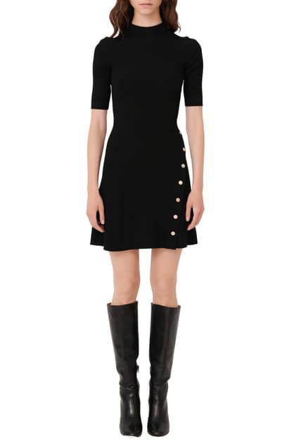Maje Mock Neck Minidress In Black