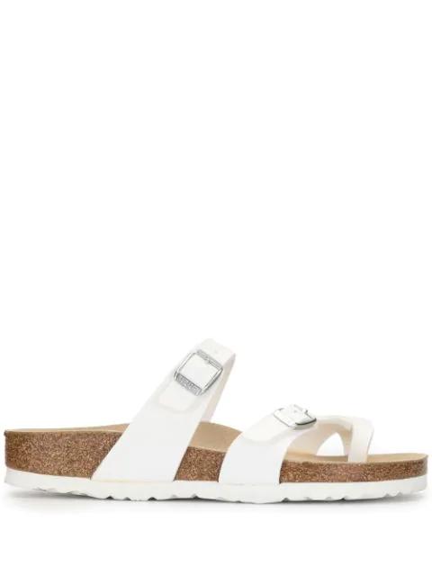 Birkenstock Mayari Sandals In Birko-flor In Shiny Patent Leather In White