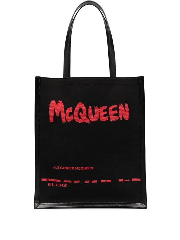 Alexander Mcqueen Jacquard Graffiti Logo Tote Bag In Black