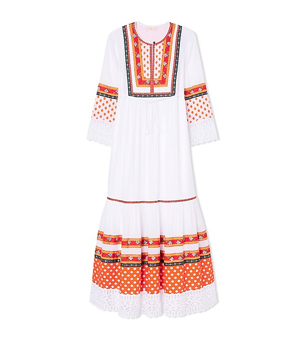 19ac9a252f Tory Burch Annalise Broderie Anglaise-Trimmed Embroidered Cotton Midi Dress  In White