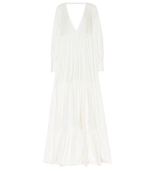 Kalita Circle Day Tiered Cotton-poplin Maxi Dress In White