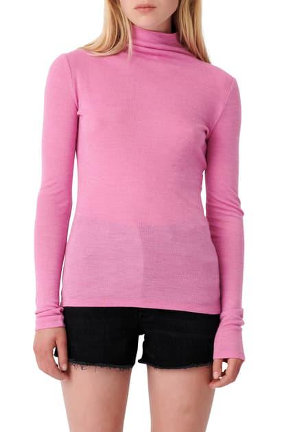 Maje Wool Blend Turtleneck Top In Pink