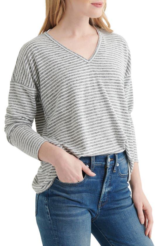 Lucky Brand Striped V-neck Top In Grey Stripe