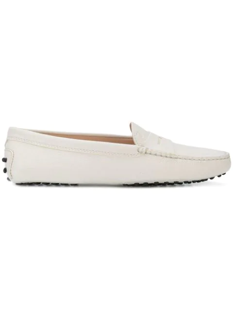 Tod's Crocodile-Stamped Leather Penny Drivers In White