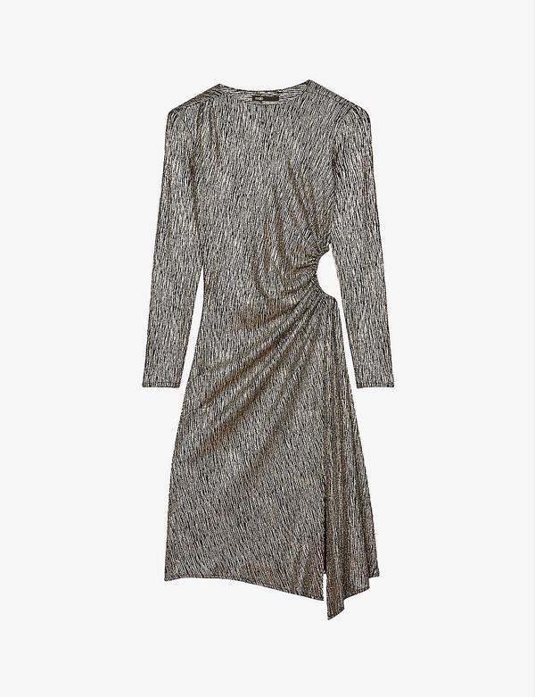 Metallic Long Sleeve Gathered Side Cutout Dress In Gold