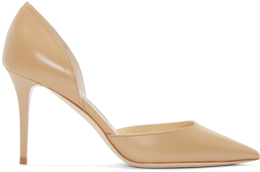 Jimmy Choo Addison 80 Leather D'Orsay Pumps In Nude