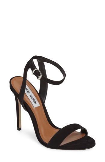 a61a6ea1017 Steve Madden Landen Ankle Strap Sandal In Black Nubuck Leather ...