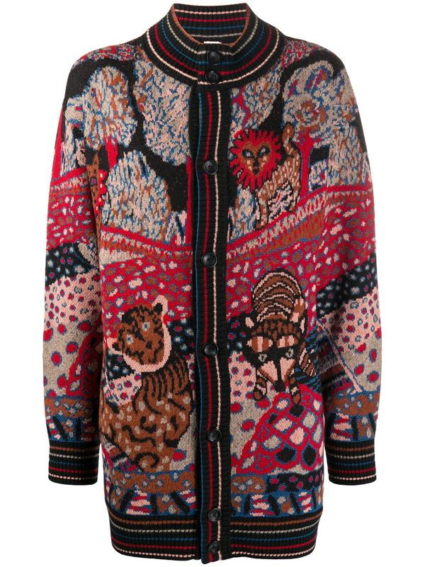 M Missoni Abstract Pattern Cardi-coat In Black