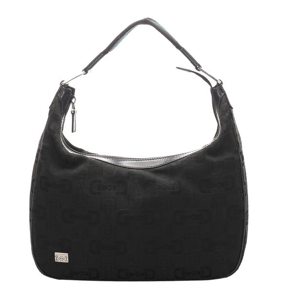 Pre-owned Gucci Black Canvas Horsebit Shoulder Bag