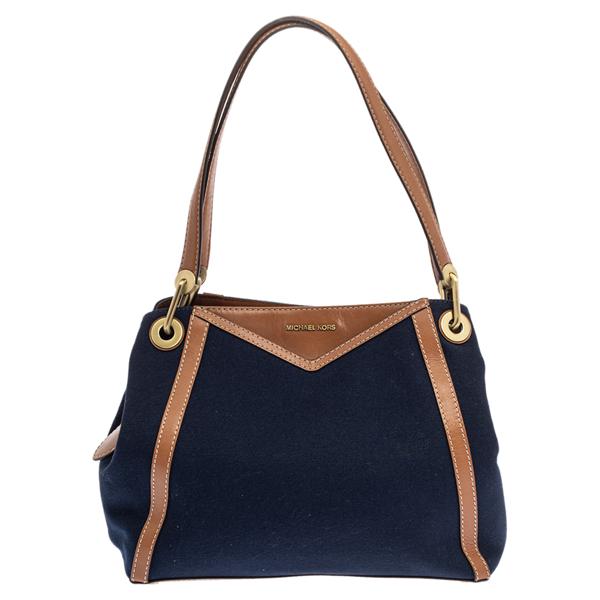 Pre-owned Michael Kors Blue/brown Denim And Leather Large Raven Shoulder Bag