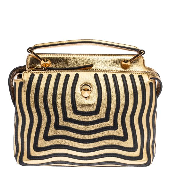 Pre-owned Fendi Gold/black Quilted Leather Dotcom Click Shoulder Bag