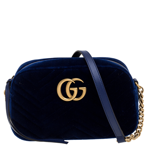 Pre-owned Gucci Blue Gg Matelasse Velvet And Leather Gg Marmont Shoulder Bag