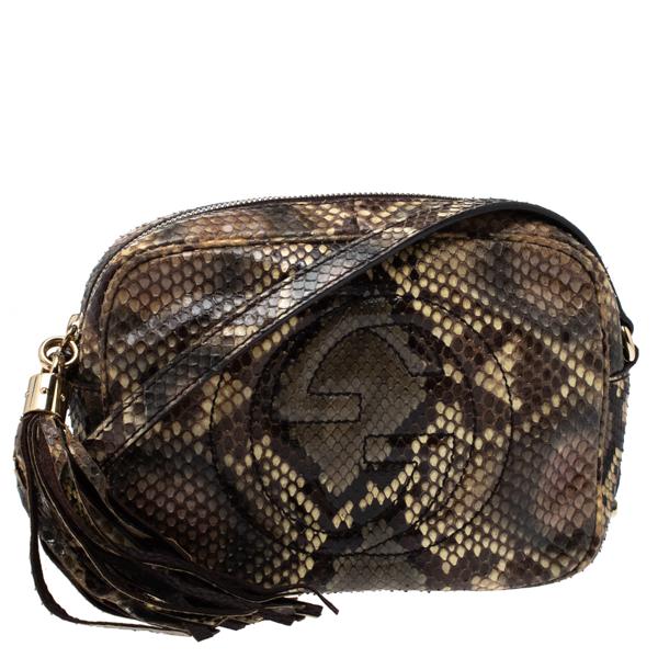 Pre-owned Gucci Multicolor Python Small Soho Disco Shoulder Bag