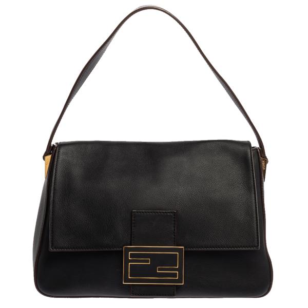 Pre-owned Fendi Black Leather Mama Forever Shoulder Bag