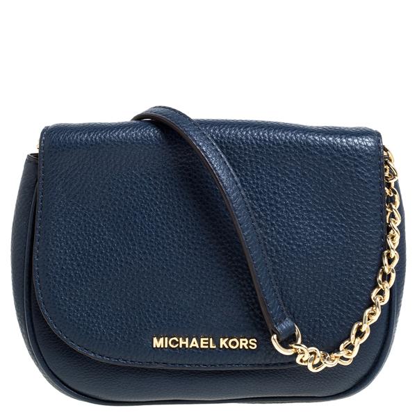 Pre-owned Michael Kors Blue Leather Flap Crossbody Bag