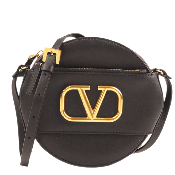 Pre-owned Valentino Garavani Black Leather V Sling Leather Crossbody Bag