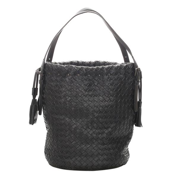 Pre-owned Bottega Veneta Black Intrecciato Leather Shoulder Bag