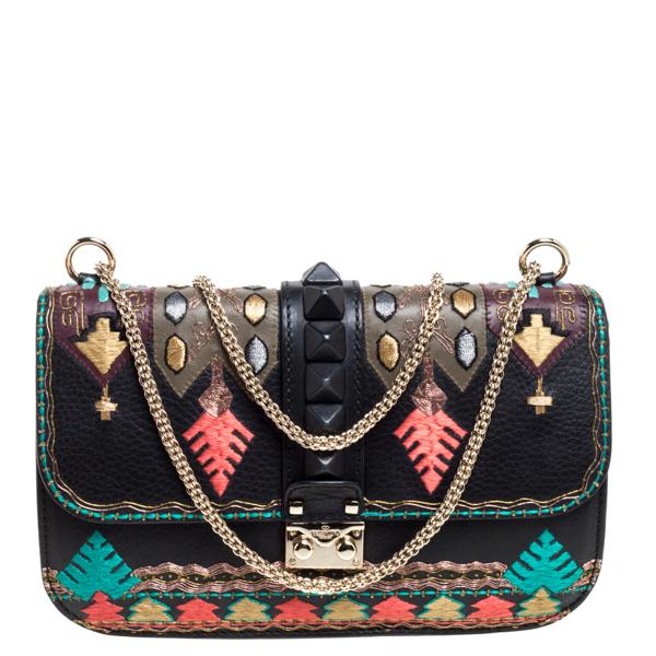 Pre-owned Valentino Garavani Multicolor Embroidered Leather Medium Glam Lock Flap Bag