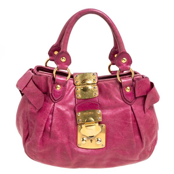 Pre-owned Miu Miu Pink Leather Bow Shoulder Bag