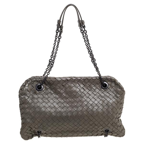 Pre-owned Bottega Veneta Olive Green Intrecciato Nappa Leather Duo Shoulder Bag