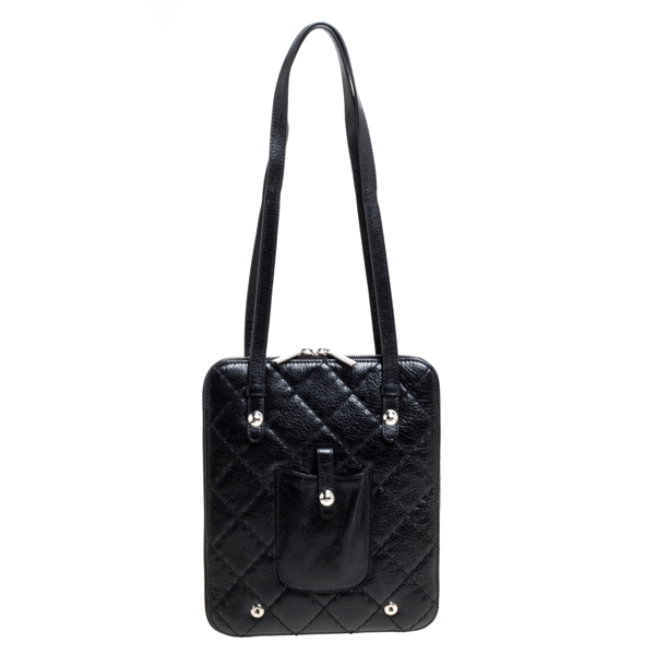 Pre-owned Chanel Black Quilted Leather Zip Around Bag