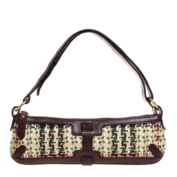 Pre-owned Burberry Multicolor Tweed And Leather Zip Baguette Bag
