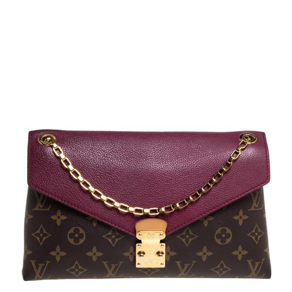 Pre-owned Louis Vuitton Aurore Monogram Canvas Pallas Chain Bag In Brown