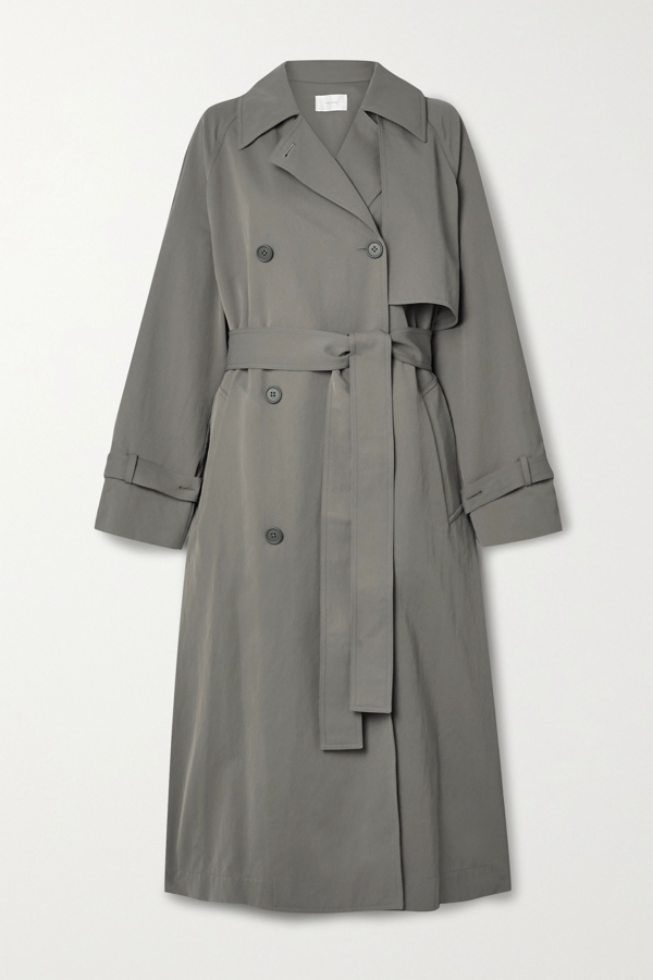 The Row Kareem Belted Double-breasted Shell Trench Coat In Army Green
