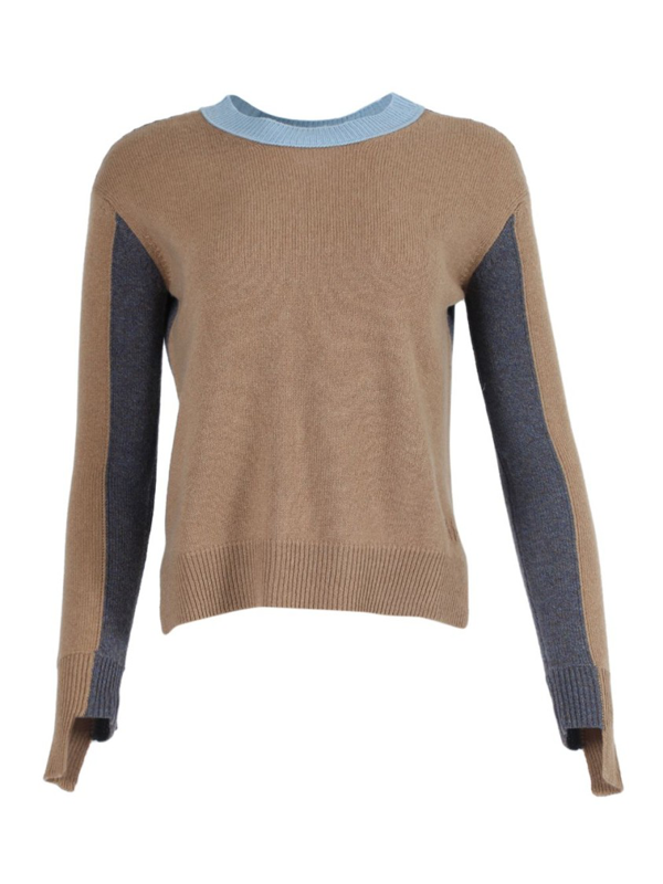 Alexandra Golovanoff Camel And Blue Knit Cashmere Sweater In Brown
