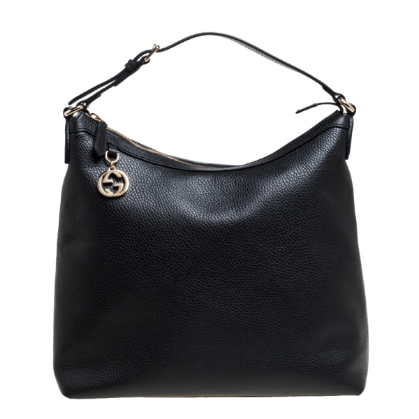 Pre-owned Gucci Black Leather Gg Charm Hobo