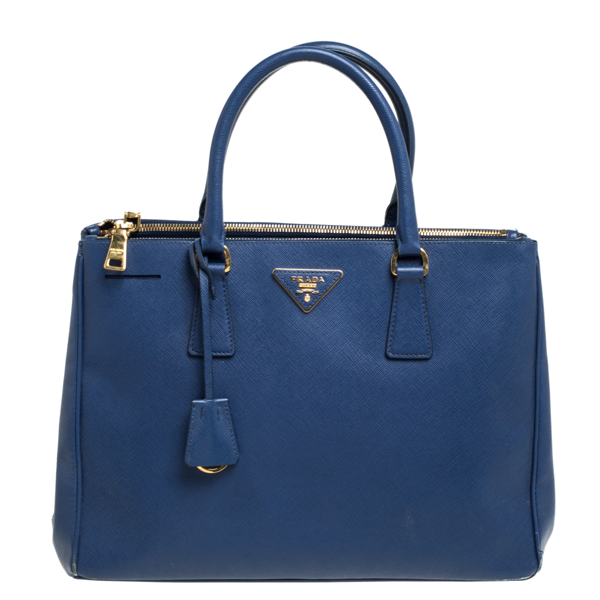 Pre-owned Prada Blue Saffiano Lux Leather Medium Galleria Double Zip Tote