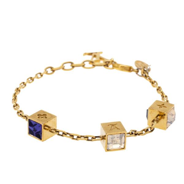 Pre-owned Louis Vuitton Gamble Crystal Gold Tone Bracelet