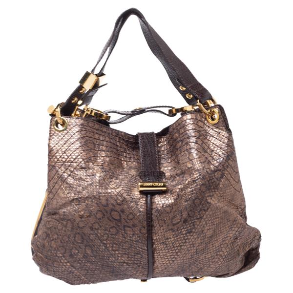 Pre-owned Jimmy Choo Brown Snakeskin Effect Leather Alex Hobo