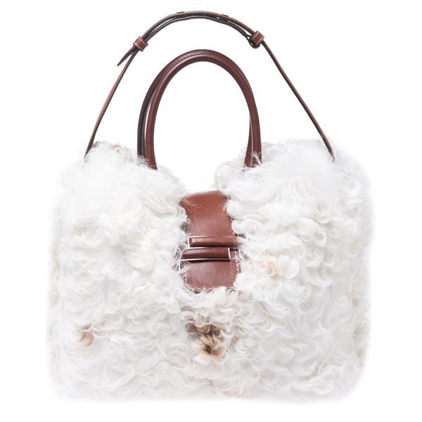 Pre-owned Tod's White/brown Shearling And Leather Medium Double T Tote