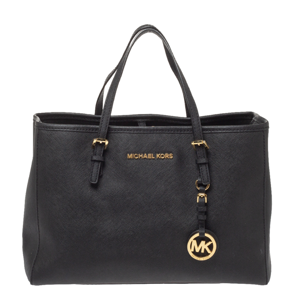 Pre-owned Michael Michael Kors Black Leather Jet Set Tote