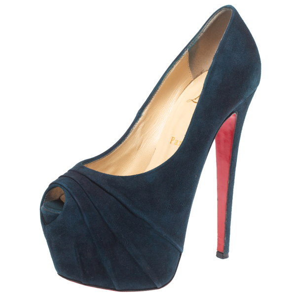 Pre-owned Christian Louboutin Blue Suede Ruched Drapesse Peep Toe Platform Pumps Size 37.5