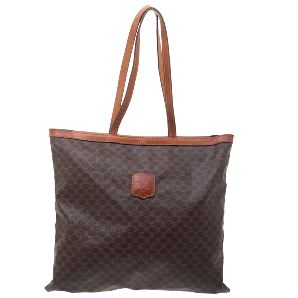 Pre-owned Celine Brown Macadam Coated Canvas And Leather Tote